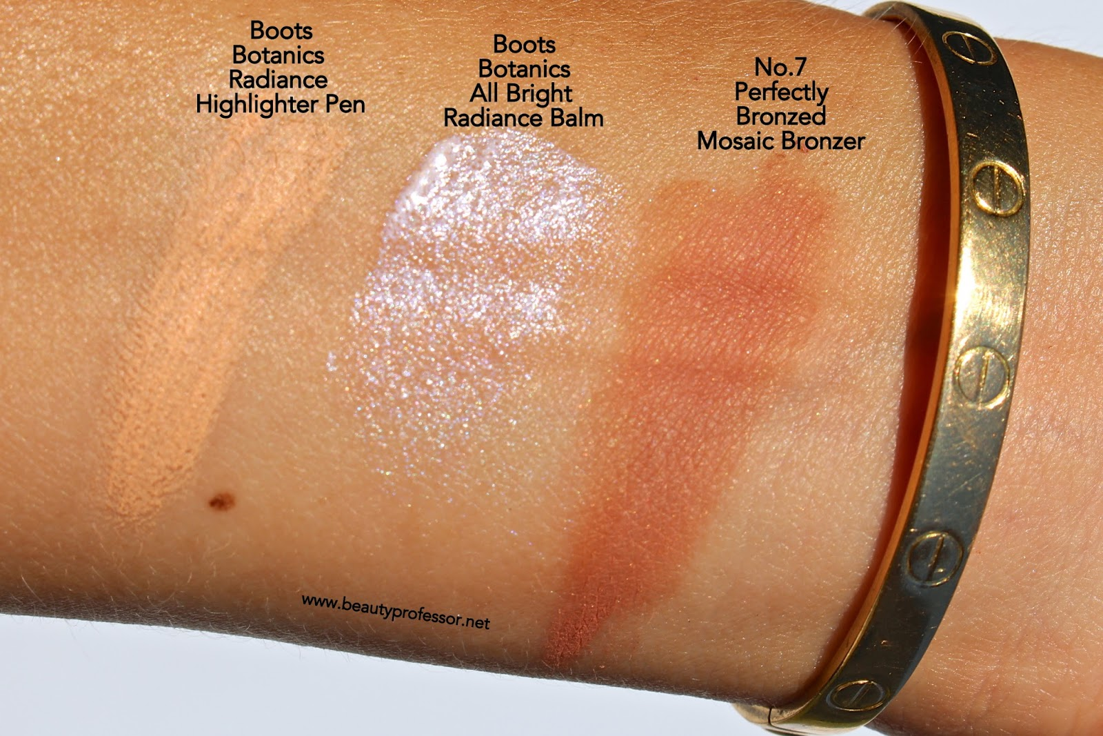 Superb Above: Swatches Of The Complexion Products In Direct Sunlight.