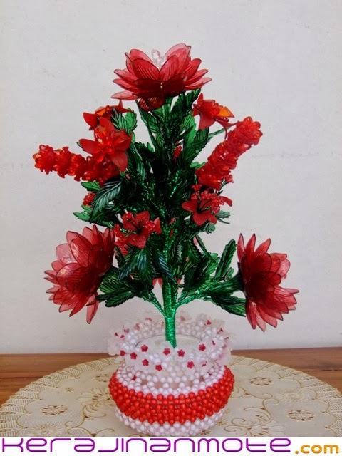 Kerajinan Tangan Bunga dengan Pot Mote atau Mute Acrylic