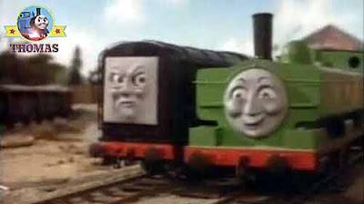Thomas and his friends Duck the great western engine and Pop Goes big black Diesel the tank engine
