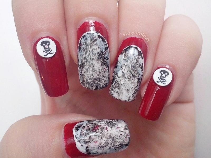 Red Ruffian Black And White Marble Skulls Nails Nail Art Nail Design