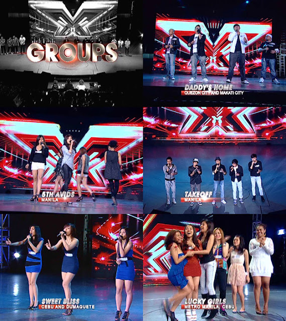 The X Factor Philippines Top 20 Groups - Daddy's Home, 5th Avids, Take Off, Sweet Bliss, and Lucky Girls