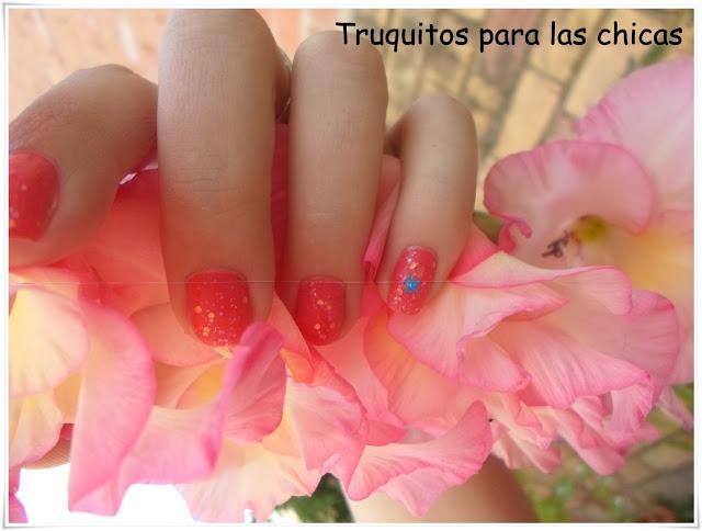 manicura rosa bonita