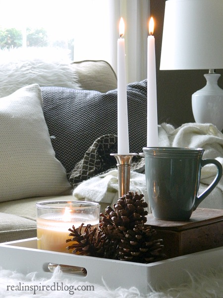 Decorating from the Yard with pineconces candles and coffee