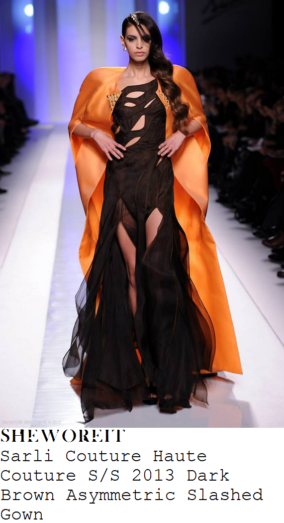 nicole-scherzinger-dark-chocolate-brown-asymmetric-sleeveless-cut-away-slashed-gown-x-factor-birthday-week