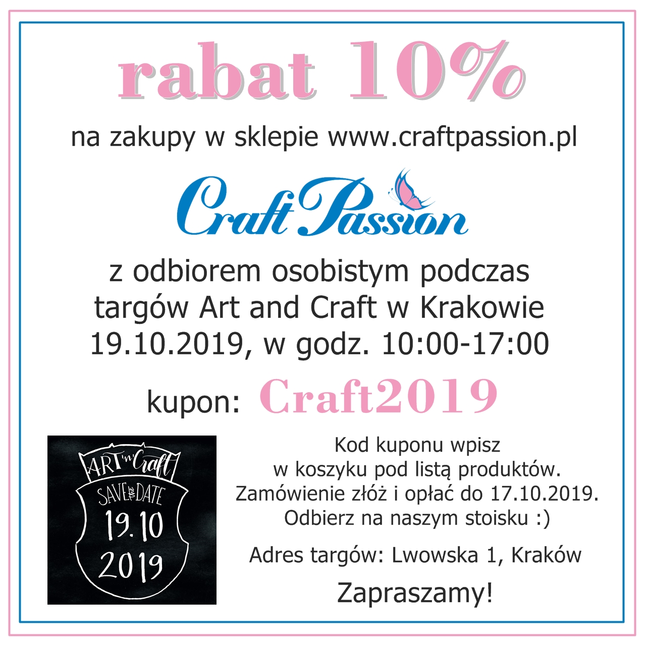 Rabat na zakupy z odbiorem na Art and Craft