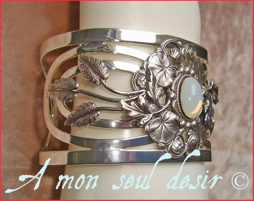 bracelet elfique bijou féerique blanc opale mariage Arwen Galadriel floral white opal fairy jewel elven poetry wedding