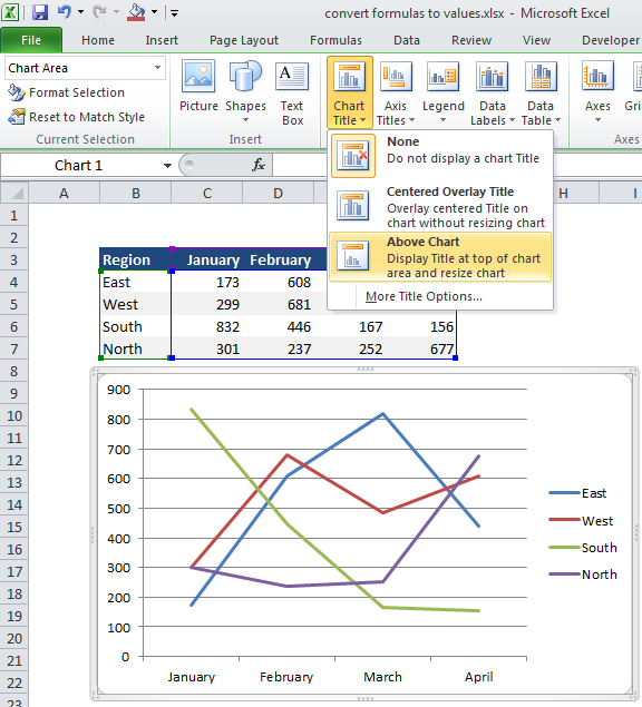 Excel world how to create a chart with a dynamic title in excel 2010 first select your chart and then your title and go to the formula bar and enter equal sign and address the cell that contains the title ccuart Image collections