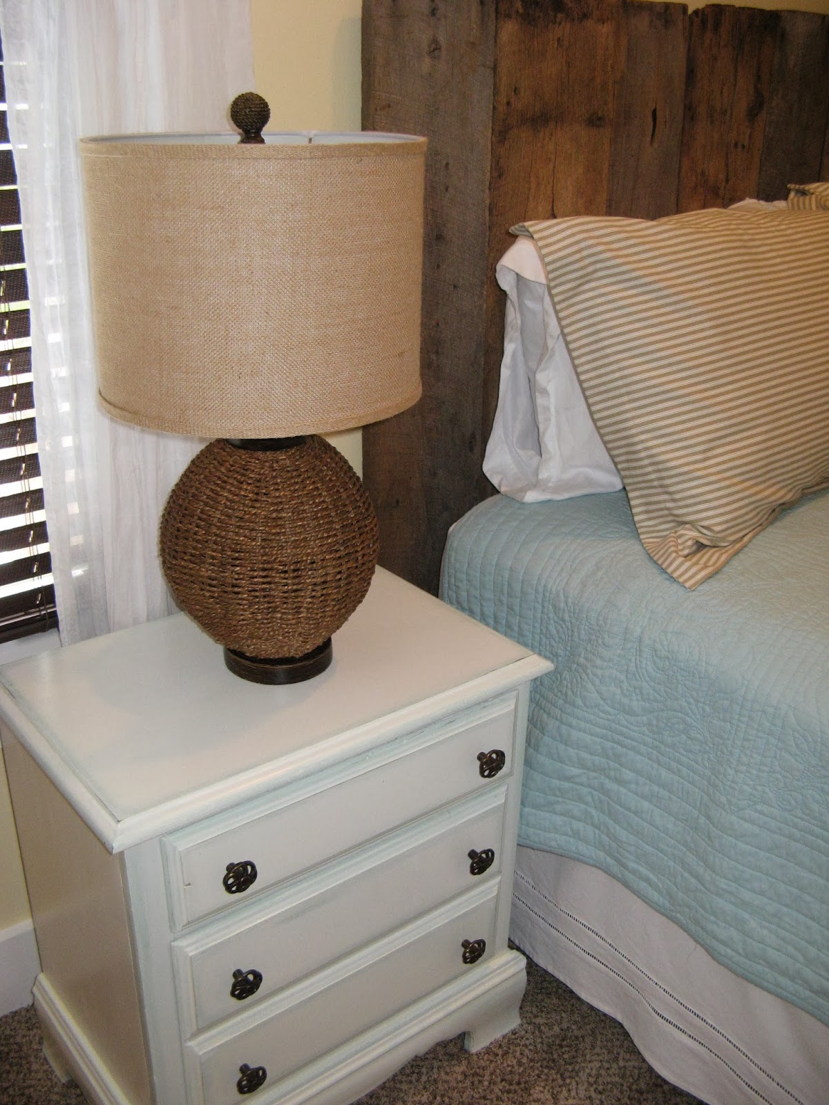 Nightstand - Candlewax Paint Distressed Aqua & White