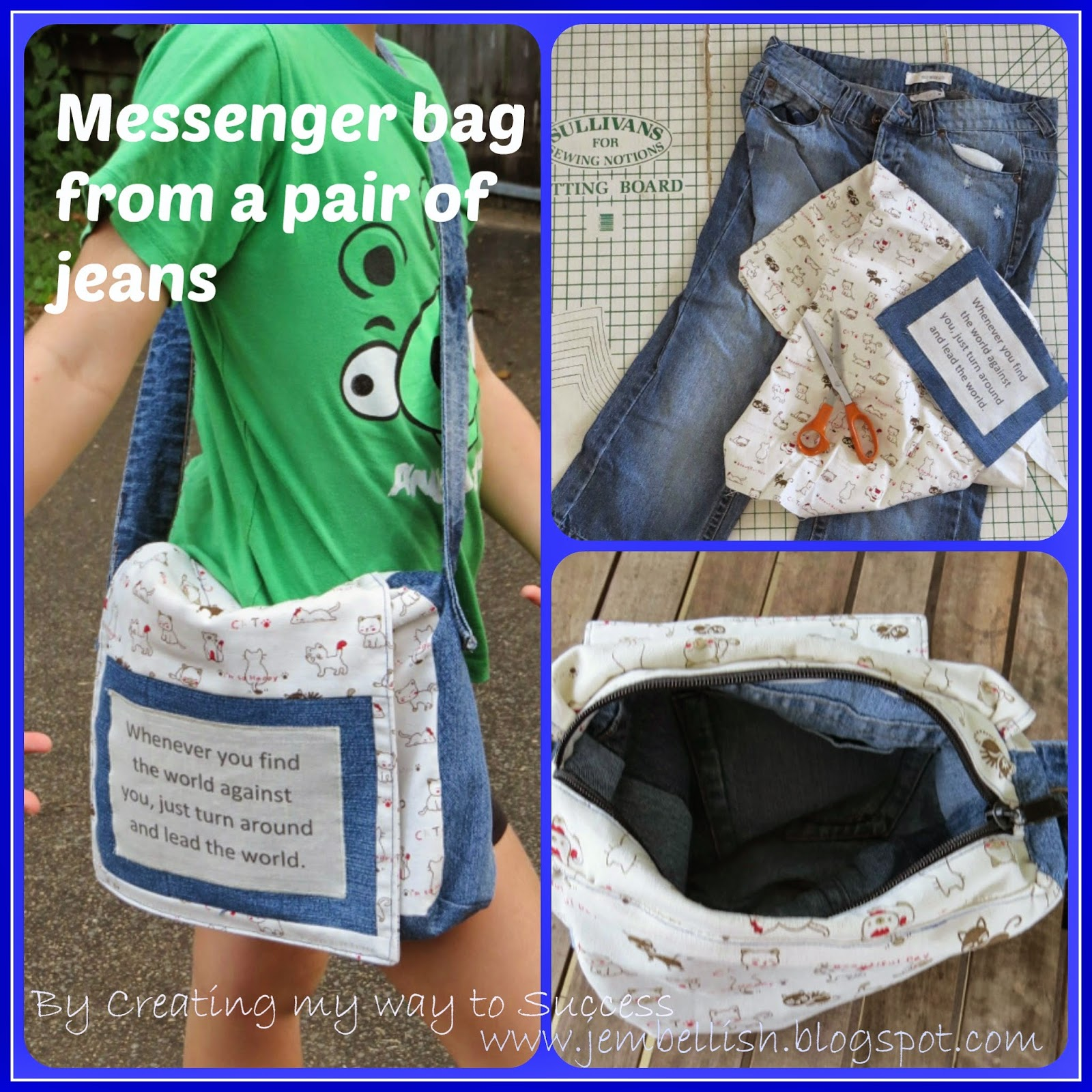 Creating my way to success messenger bag from jeans an upcycle creating my way to success messenger bag from jeans an upcycle tutorial jeuxipadfo Gallery