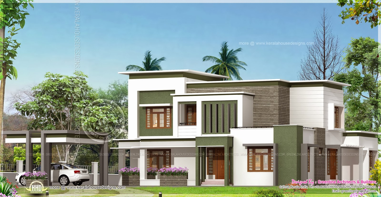 Contemporary home plan in 2760 square feet kerala home for New model house plan and elevation