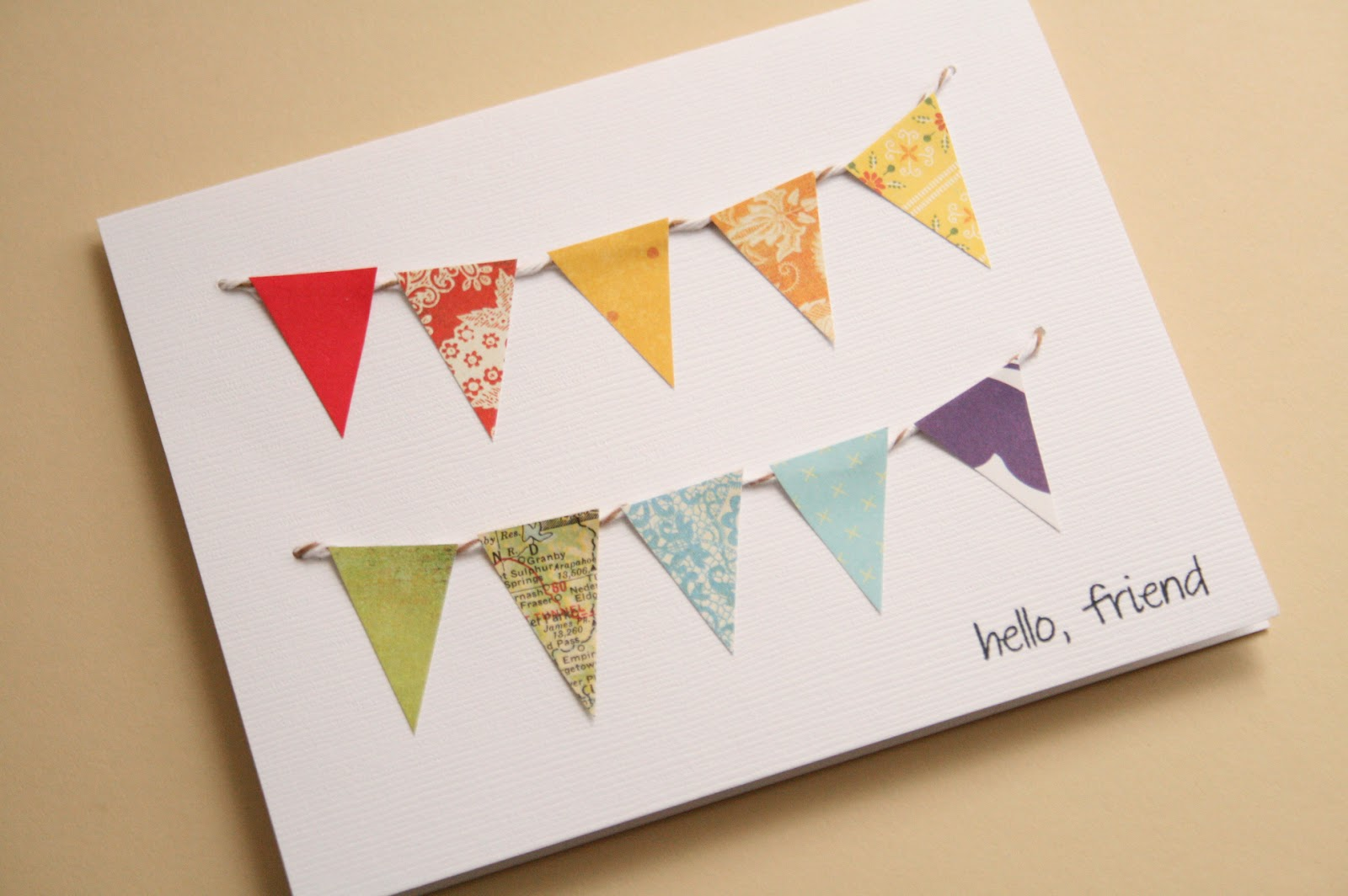 The creative place diy paper bunting greeting card for Diy cards