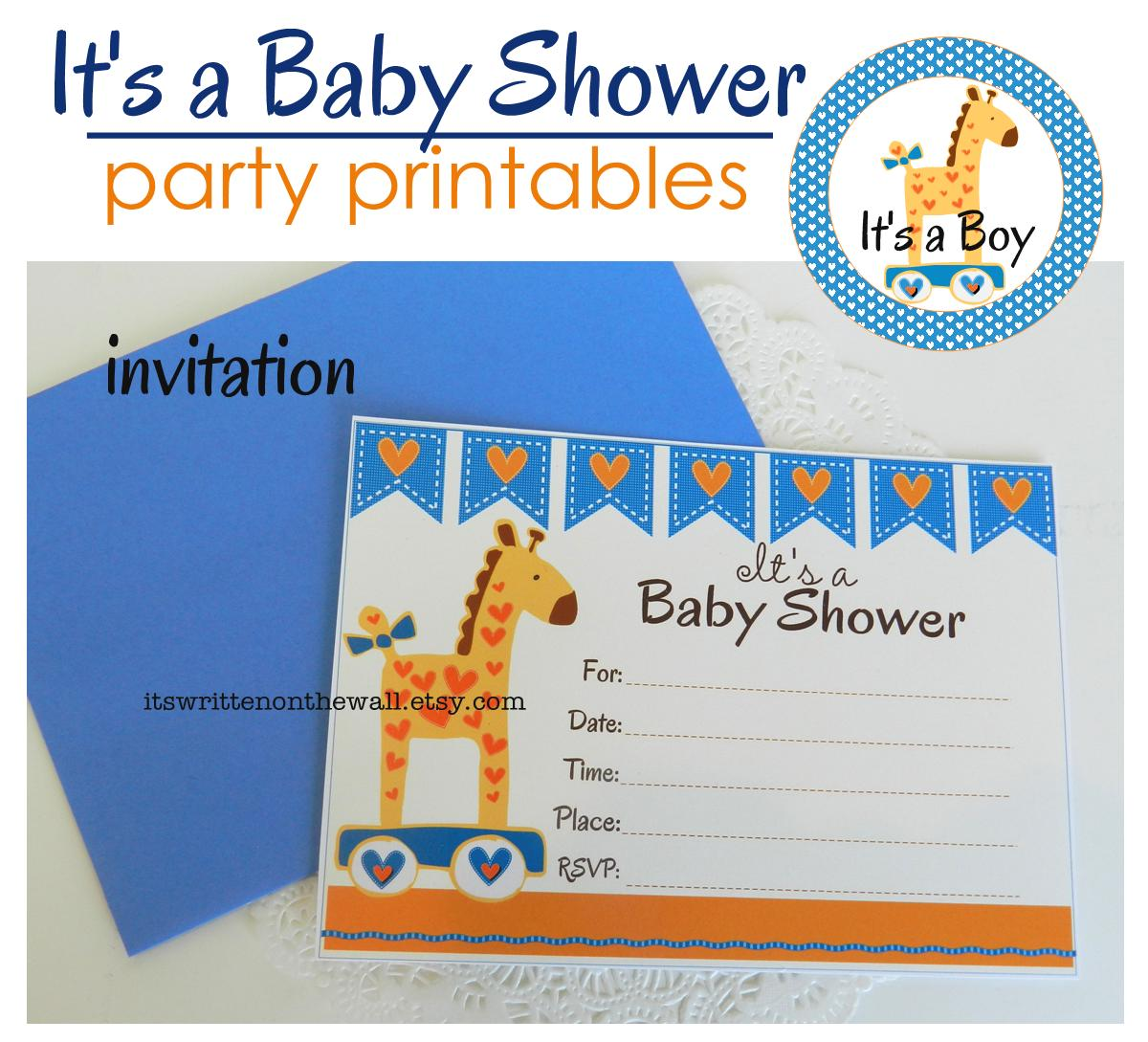 the wall baby shower party printables for a boy plus fun party food