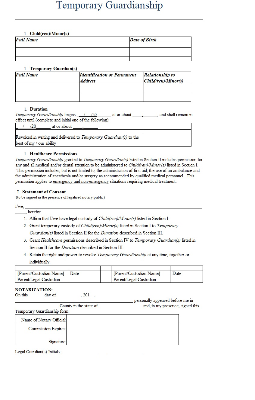 temporary guardianship letter template sample. Black Bedroom Furniture Sets. Home Design Ideas