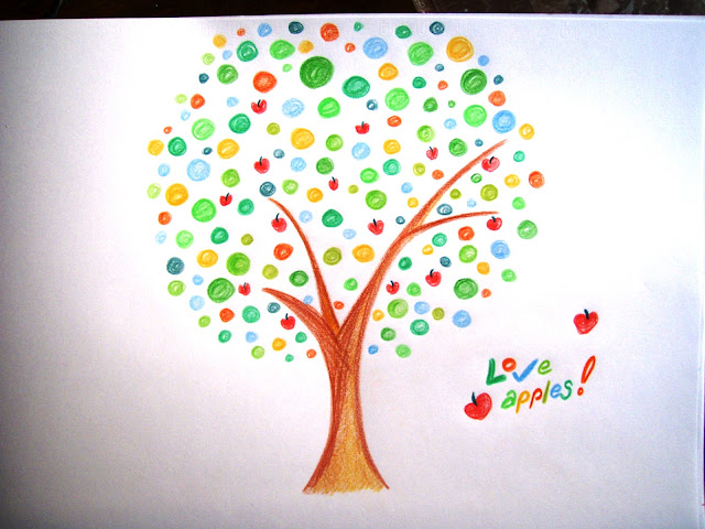 apple tree coloured drawing