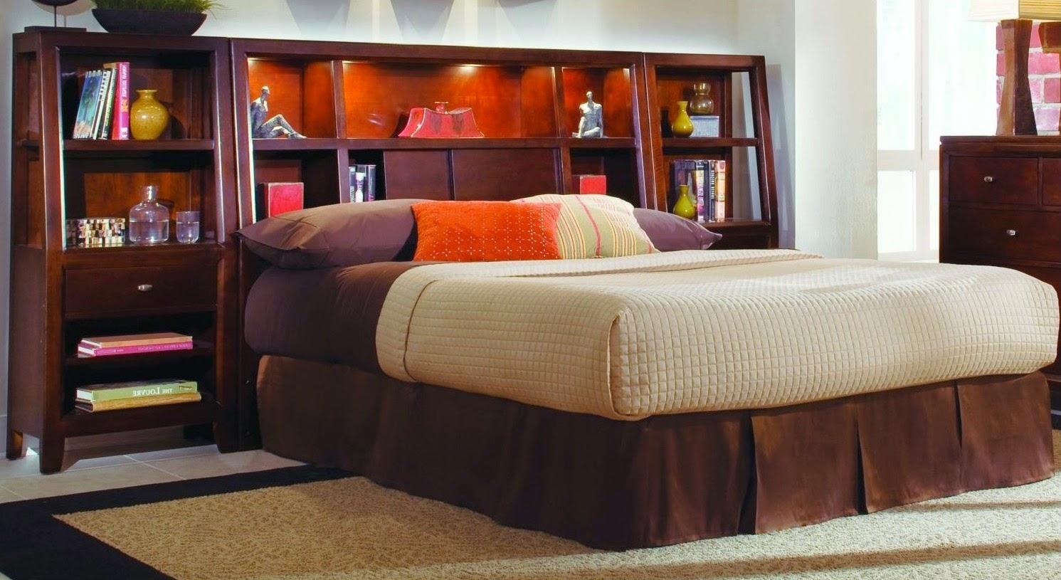 King Platform Bed with Storage Headboard
