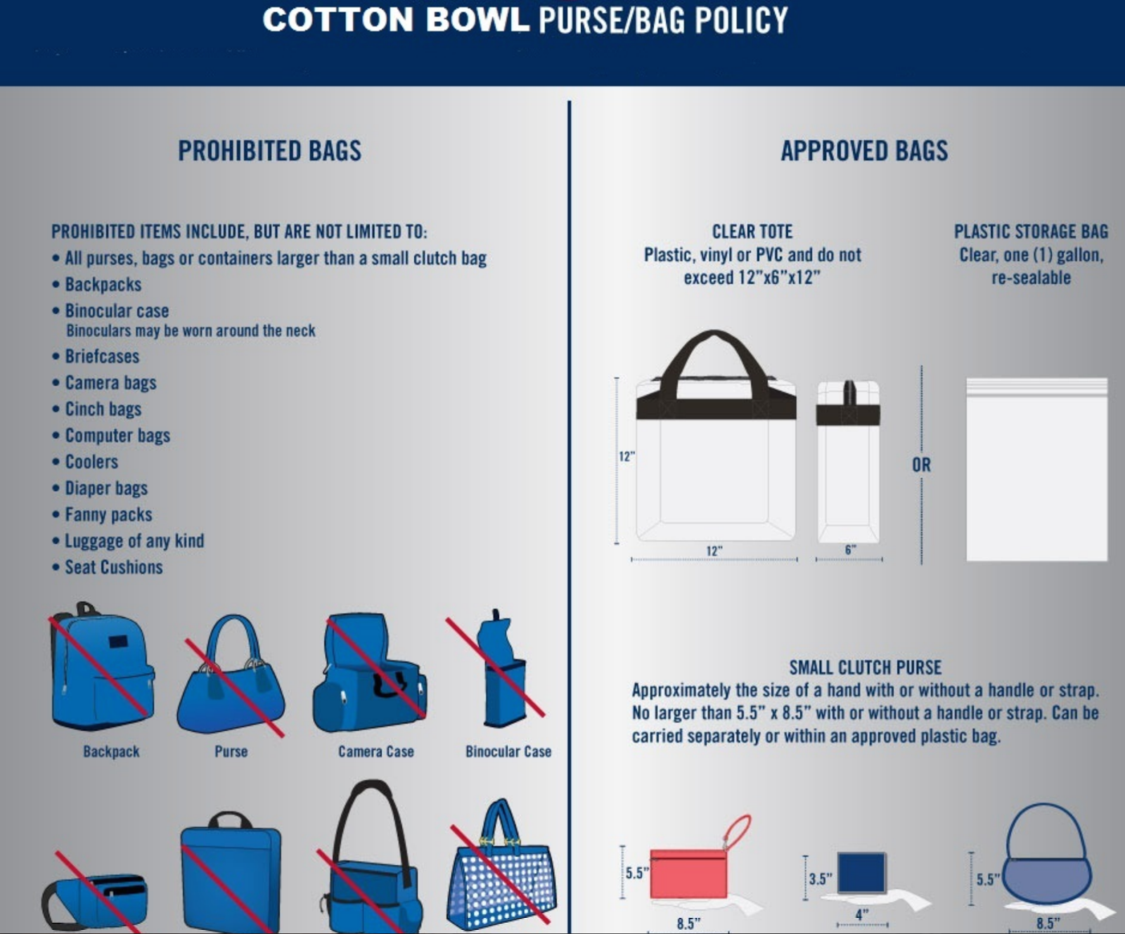 cotton bowl purse policy, cotton bowl bag policy, fair park purse policy