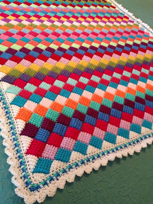 Tunisian Crochet Entrelac Throw - Free Pattern