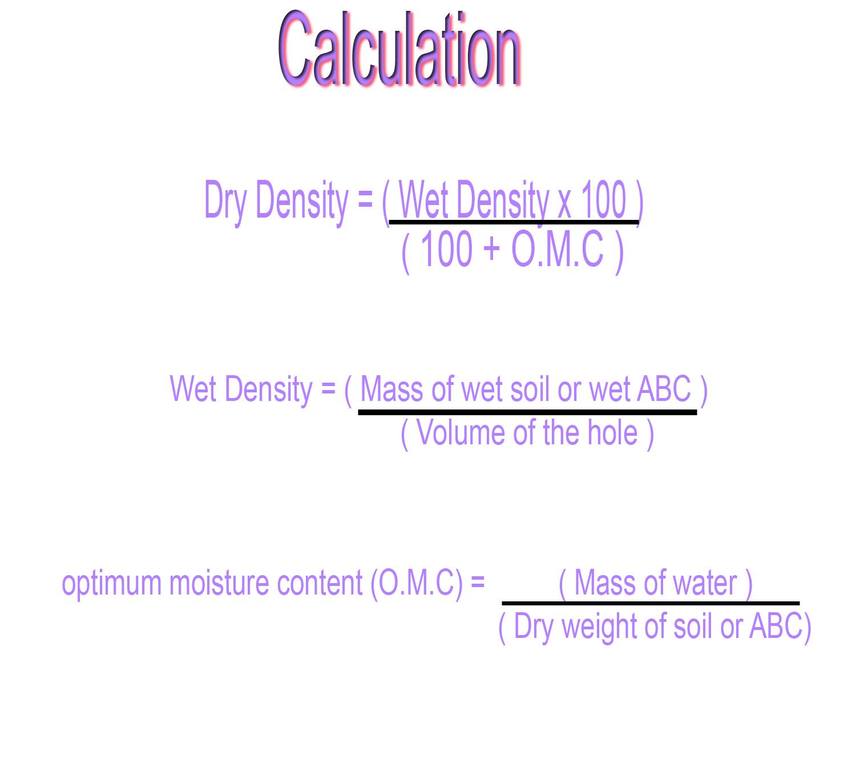 Determination of moisture content for Soil volume calculator