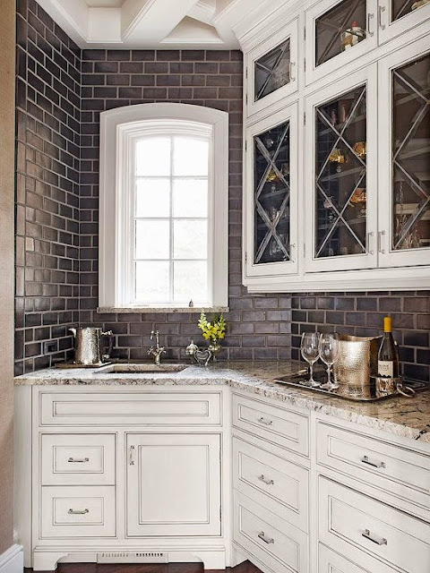 glazed brick walls in kitchen