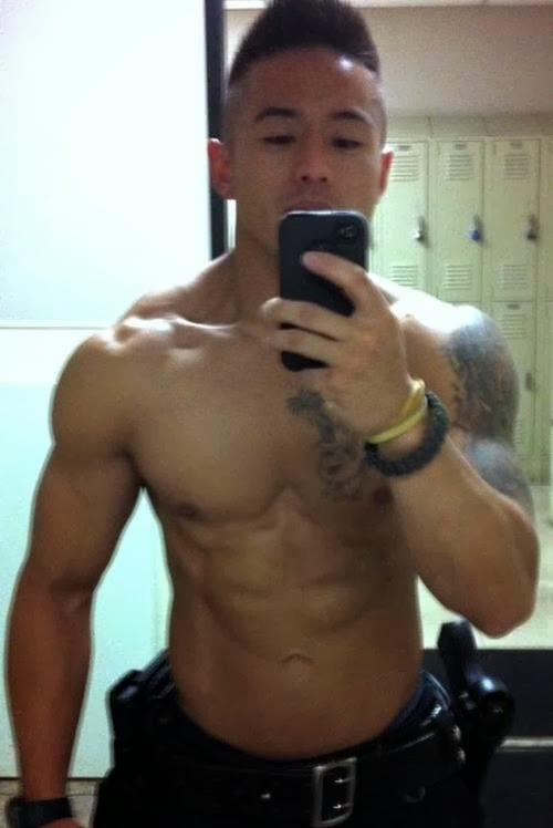 Muscular Asian Man Selfie