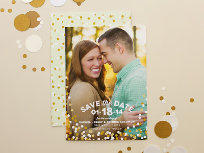 confetti, photo save the date, photo card, gold confetti