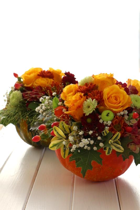 Hessenm del ein blumengesteck im k rbis hallo herbst for Herbstdeko kurbis