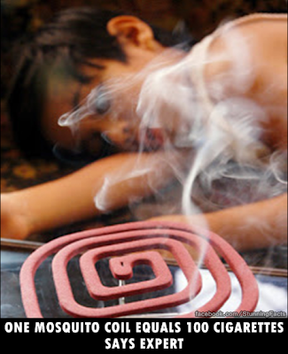 Smoke emitted from one mosquito repellant coil is equivalent to those of 100 cigarettes