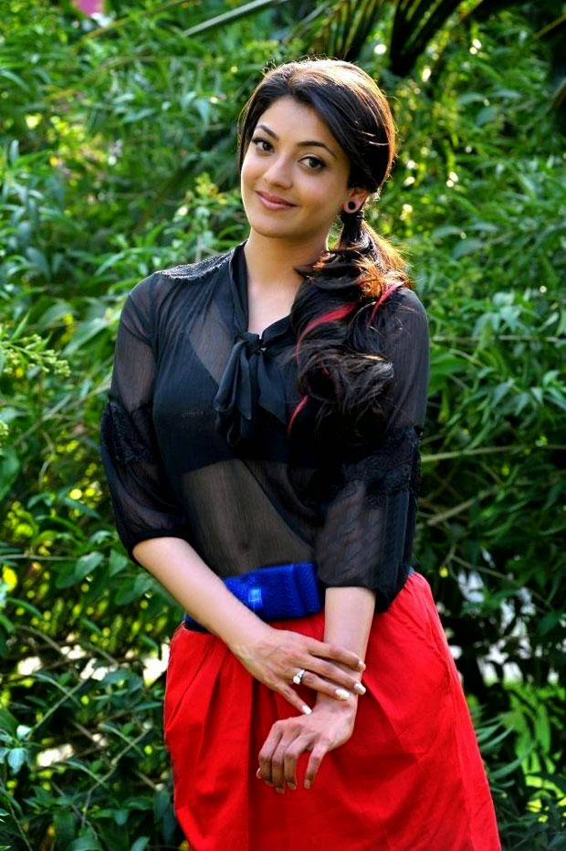 Kajal Agarwal Hot Pics In Transparent black Top