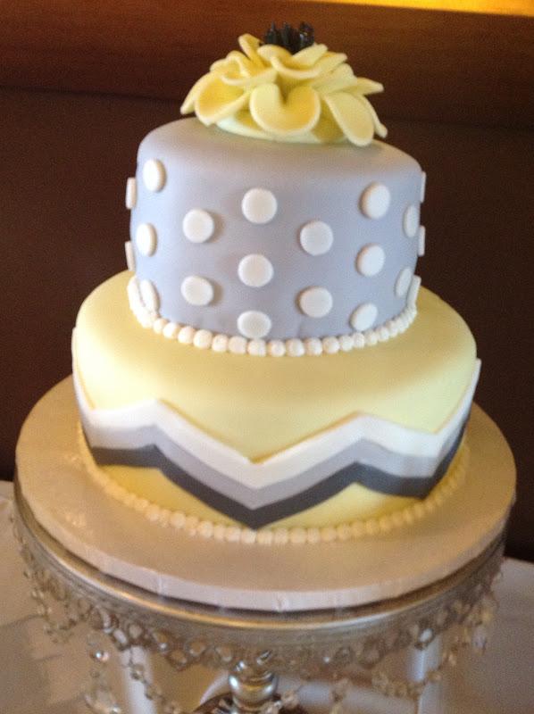 Plumeria Cake Studio: Grey and Yellow Wedding Cake and Buffet