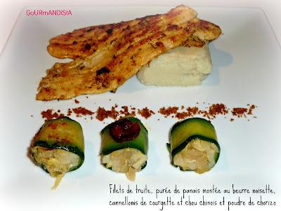 image Filets de truite, purée de panais montée au beurre noisette, cannellonis de courgette et chou chinois et poudre de chorizo