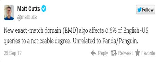 Matt Cutts Update Google EMD