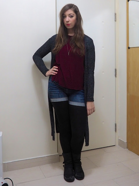 Wine Red | outfit of burgundy red top, long grey knit cardigan, denim shorts, black leggings & biker boots