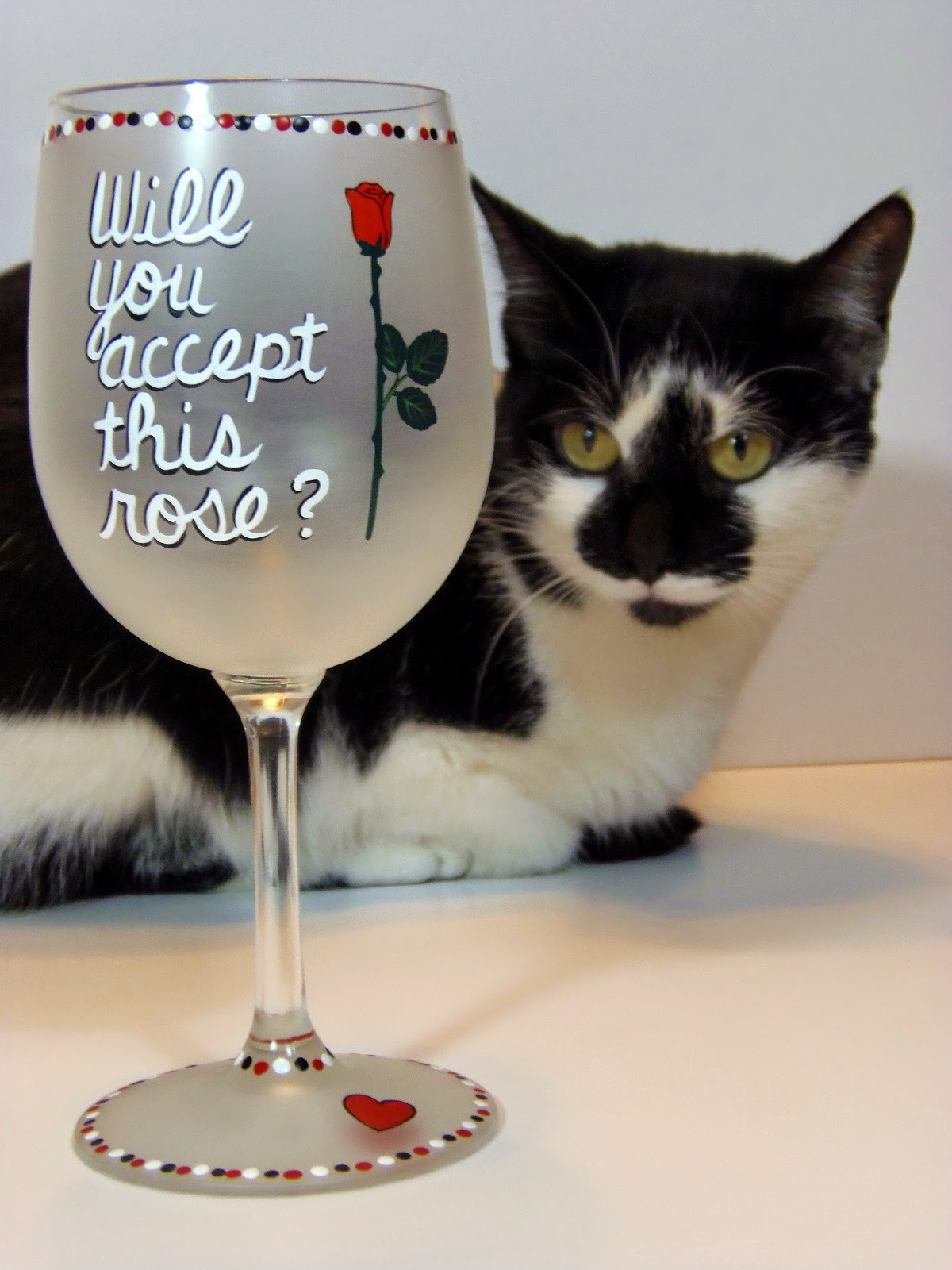 """Will you accept this rose?"" painted wine glass via kudoskitchenbyrenee.com"
