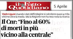 """IL CNR: """"FINO AL  60%DI MORTI  IN PIU' VICINO ALLA CENTRALE"""""""