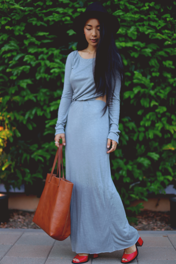 Stephanie Liu of Honey & Silk shares 3 ways to wear red heels. Today's second look is neutral-toned, featuring a Pencey Standard dress, Madewell transport leather tote, and Kelsi Dagger Blanca heels.
