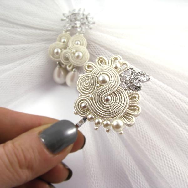 Ślubna, ozdobna wsuwka do włosów sutasz ivory z perłami