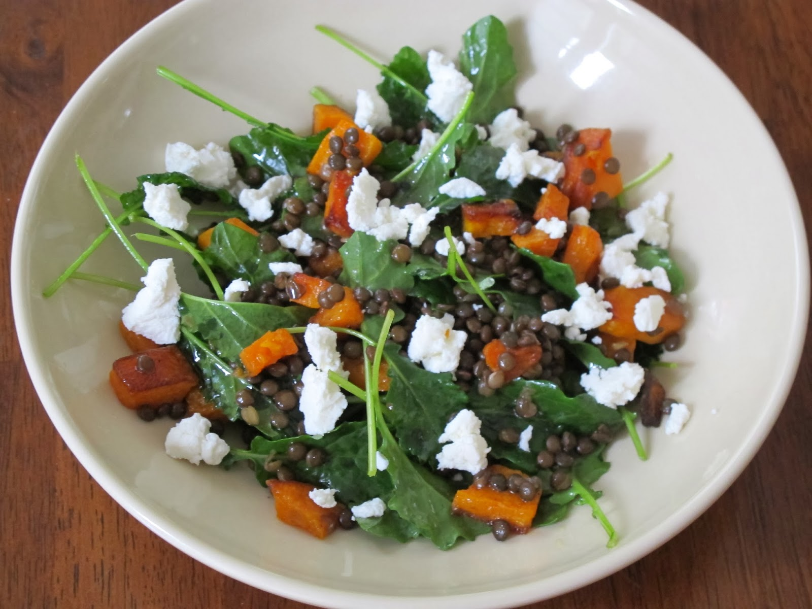 Lentil, Goat Cheese, Butternut Squash, and Baby Kale Salad