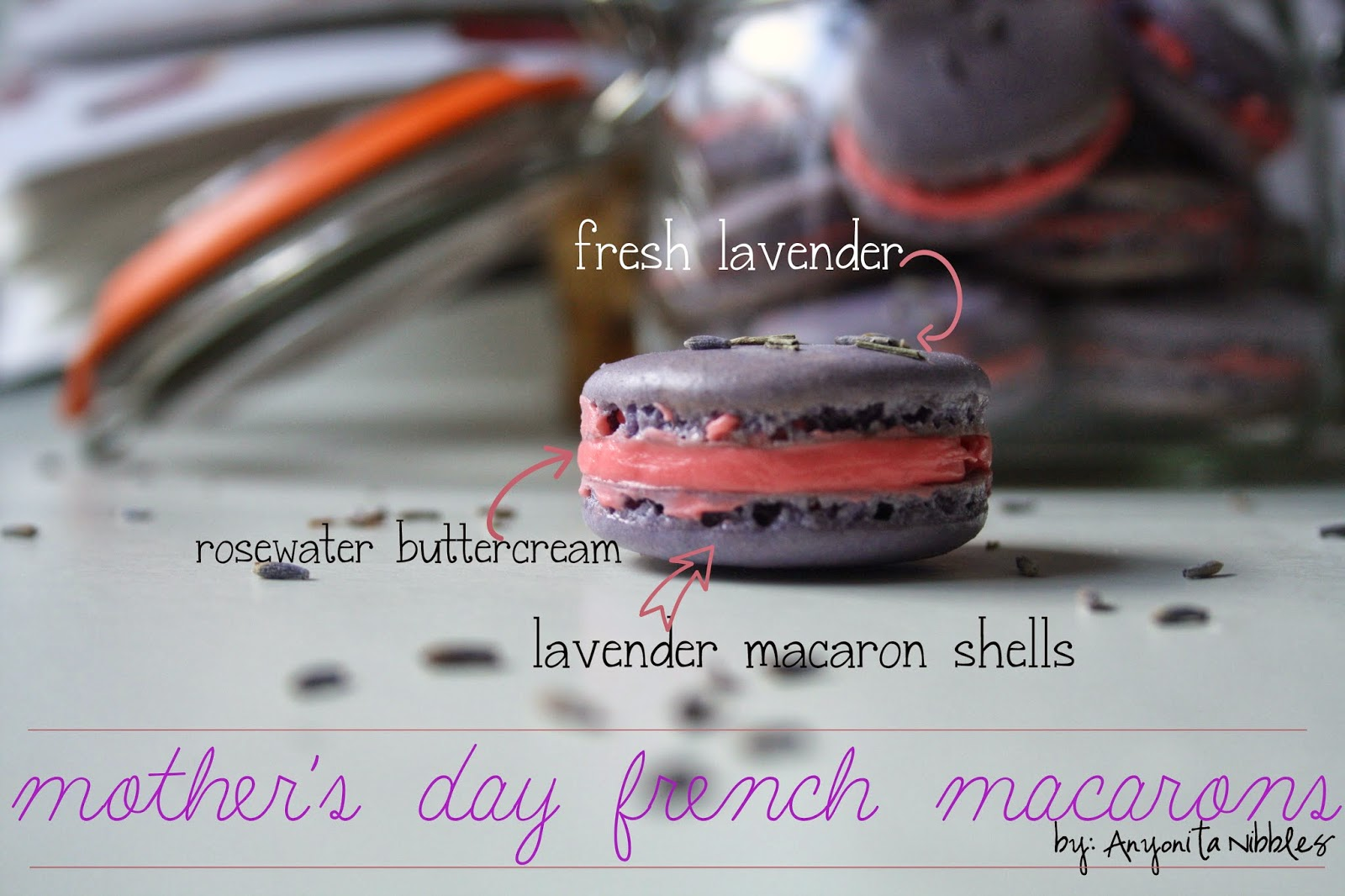 Components of a lavender and rose French macaron from @anyonita