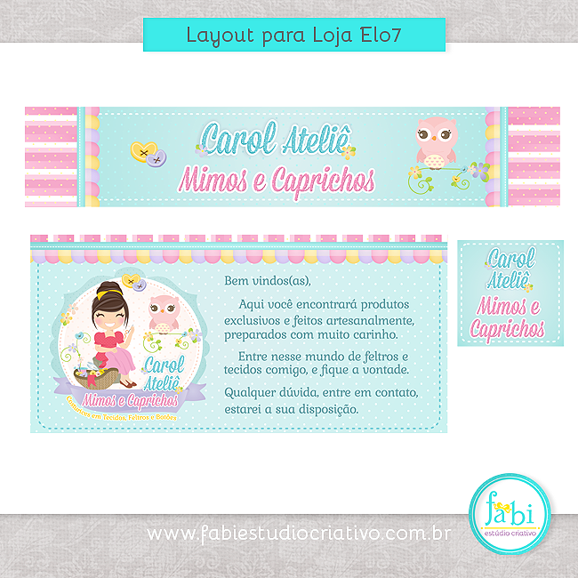 layout para Elo7, layout para loja virtual, logotipo com coruja, corujinha fofa, logomarca fofa, logo com mascote, menina artesã