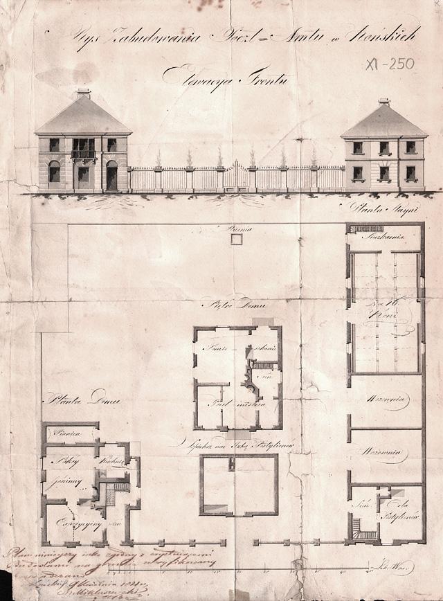 Projekt budynków pocztowych w Końskich z 1821 r. Ze zbiorów Muzeum Poczt i Telegrafów we Wrocławiu.