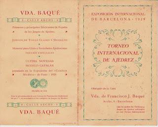Folleto de Vda. Baqué con el cuadro de puntuación del Torneo Internacional de Ajedrez Barcelona 1929