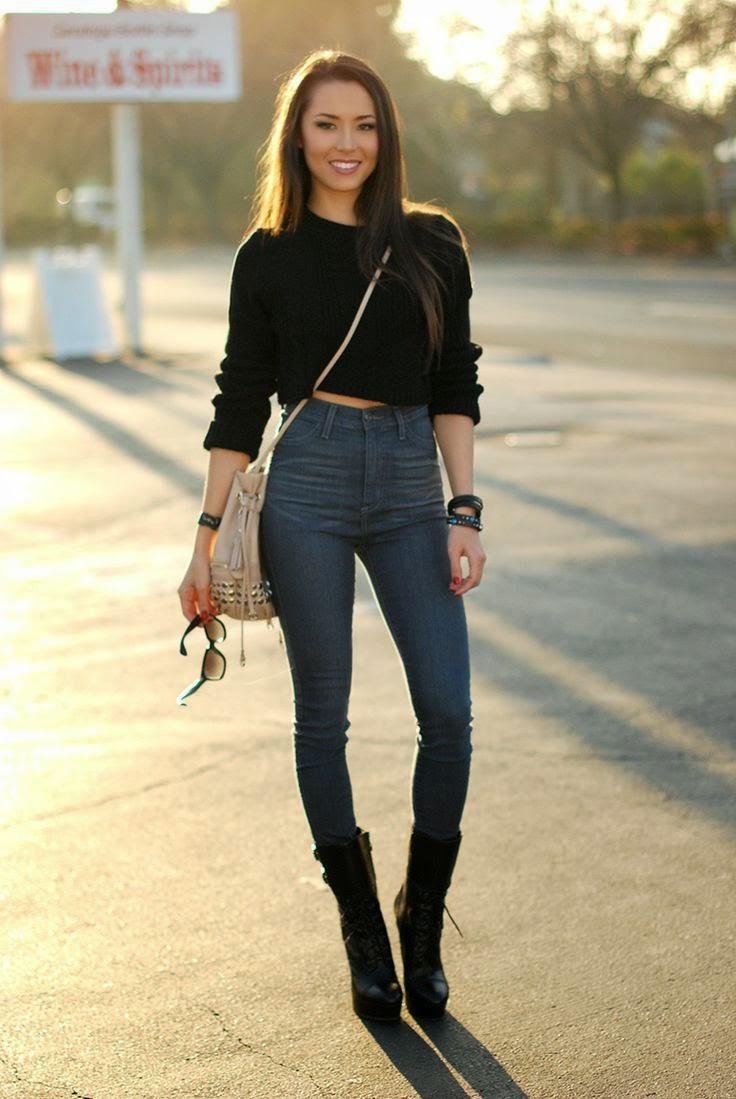 Tendência  moda calças cintura subida