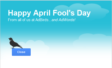 google adbirds april fools day