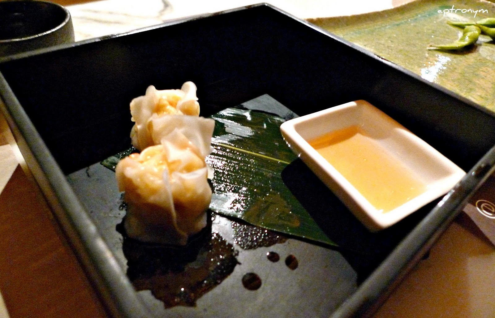 Chinese influenced steamed prawn dumpling with ponzu dipping sauce