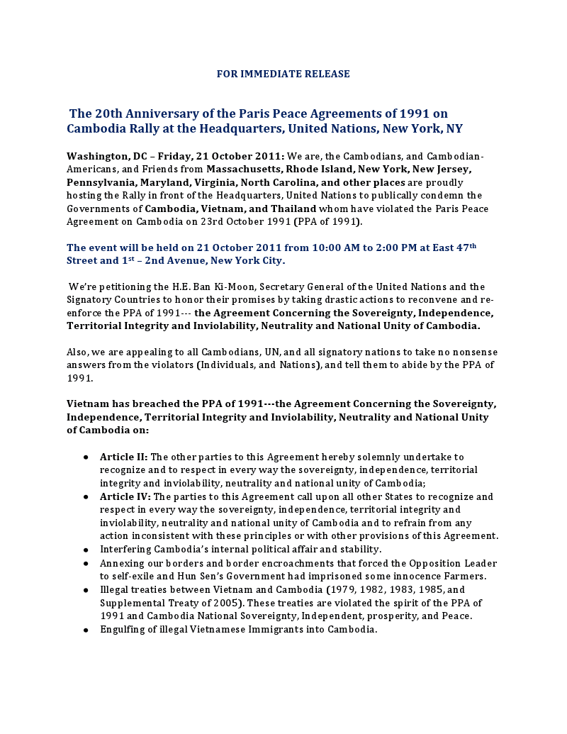 Ki Media Press Release The 20th Anniversary Of The Paris Peace