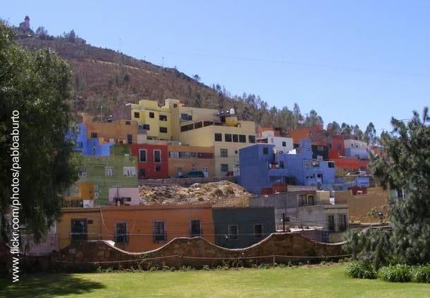 Casas de colores en Zacatecas, México