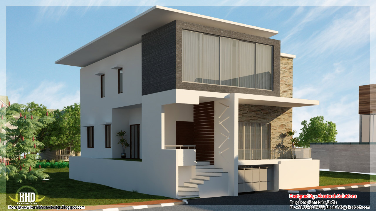 Mix collection of 3d home elevations and interiors for Contemporary indian house elevations