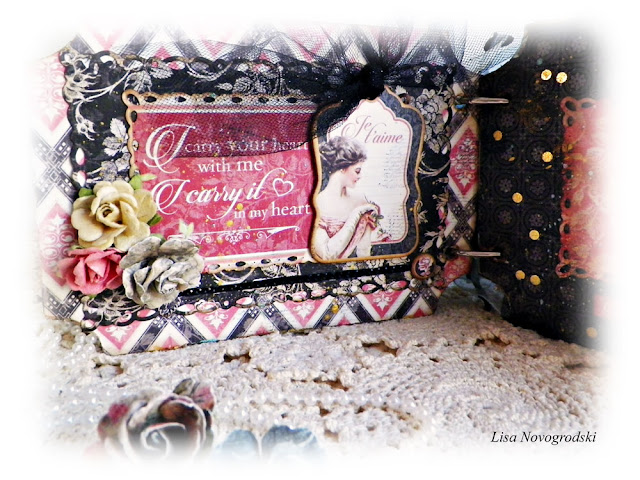 "Mon Amour Mini Album by Lisa Novogrodski for Scraps of Darkness using the January ""Beloved"" Kit"