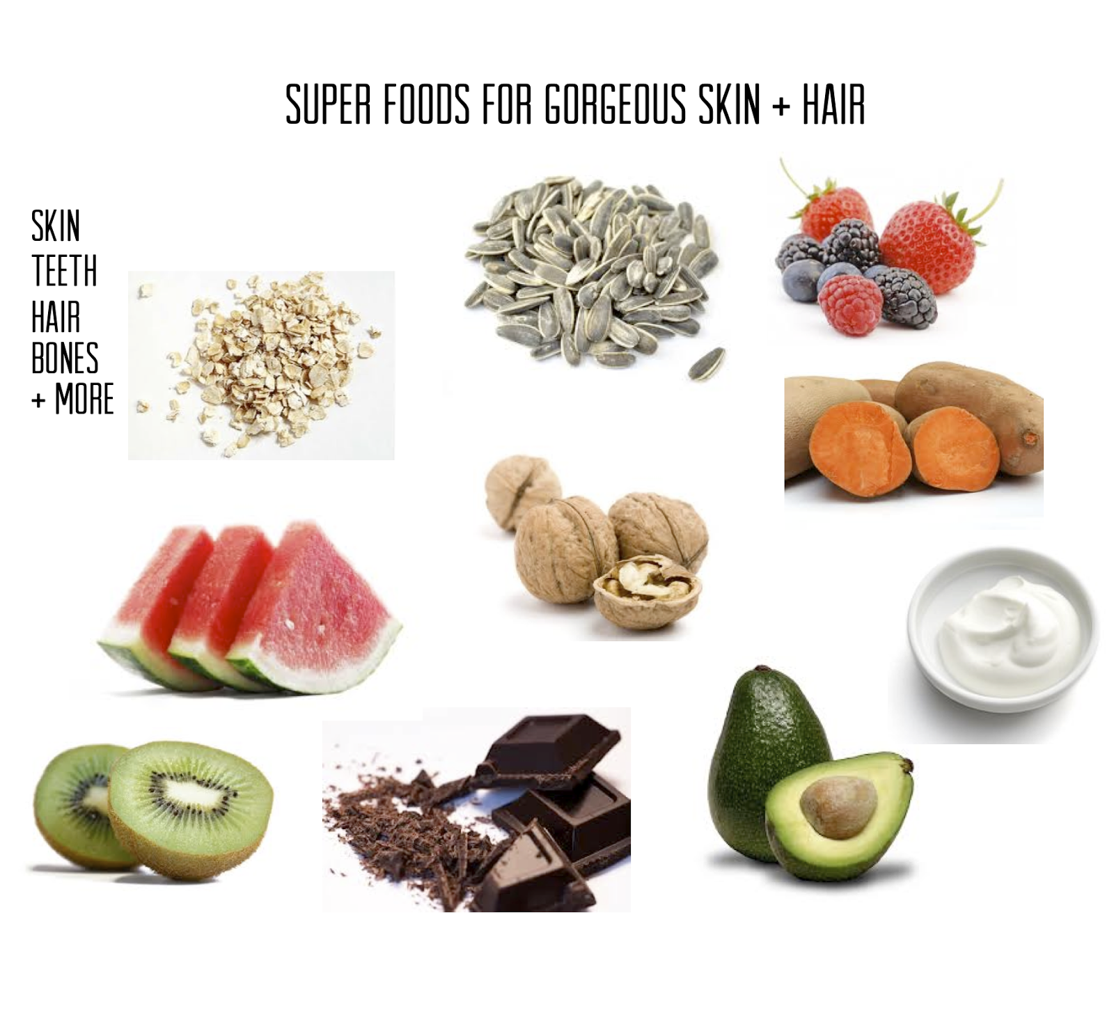 super, foods, for, gorgeous, skin, hair, avocado, melon, berry, sedds, sweet potato, healthy, strong