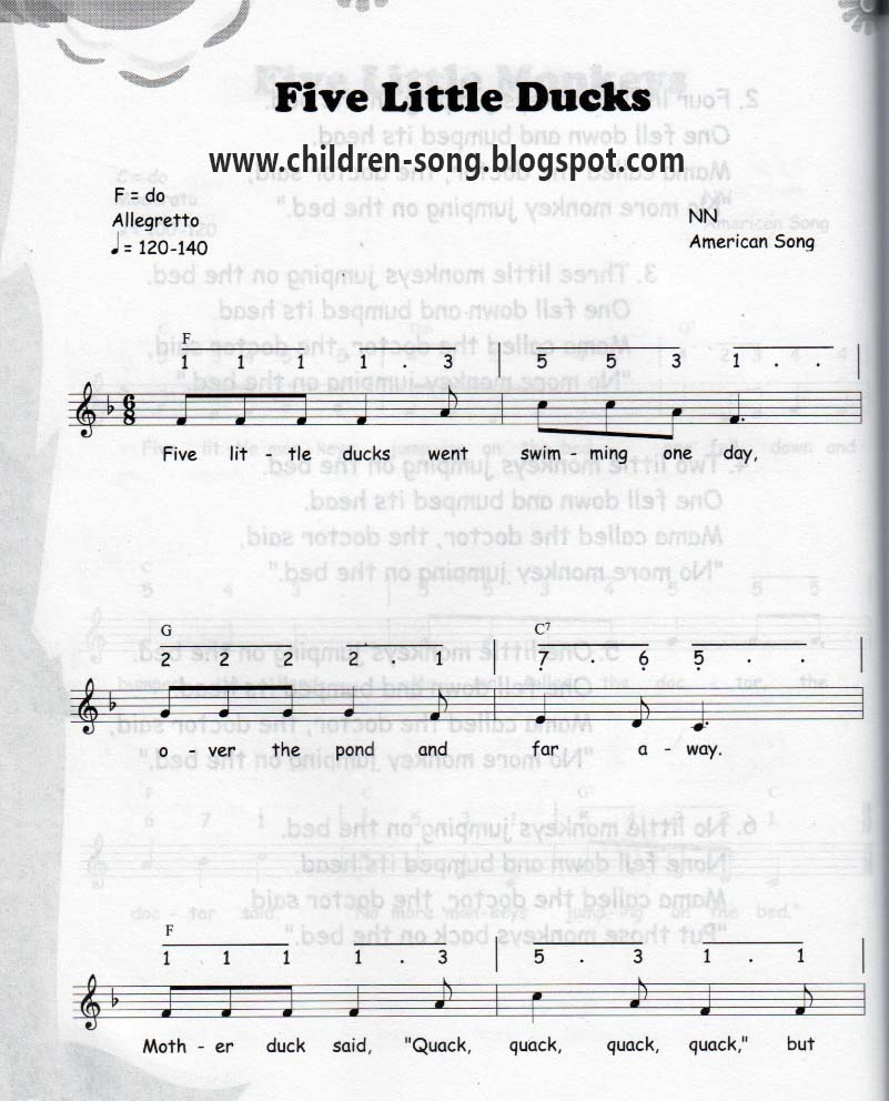 Do Re Mi Lyrics Sheet Music: Five Little Ducks Song With Notes And Chords